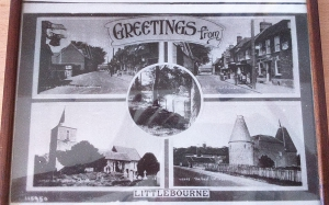 Old postcard of Littlebourne showing - Oast House, Church and High Street