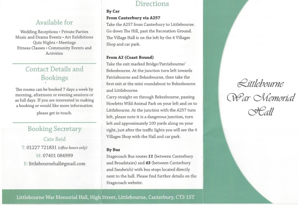 Littlebourne War Memorial Hall leaflet giving details of whats available