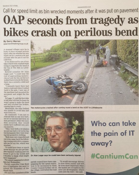 Newspaper article showing motorbike crash