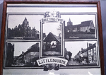 Postcard showing multiple views of village